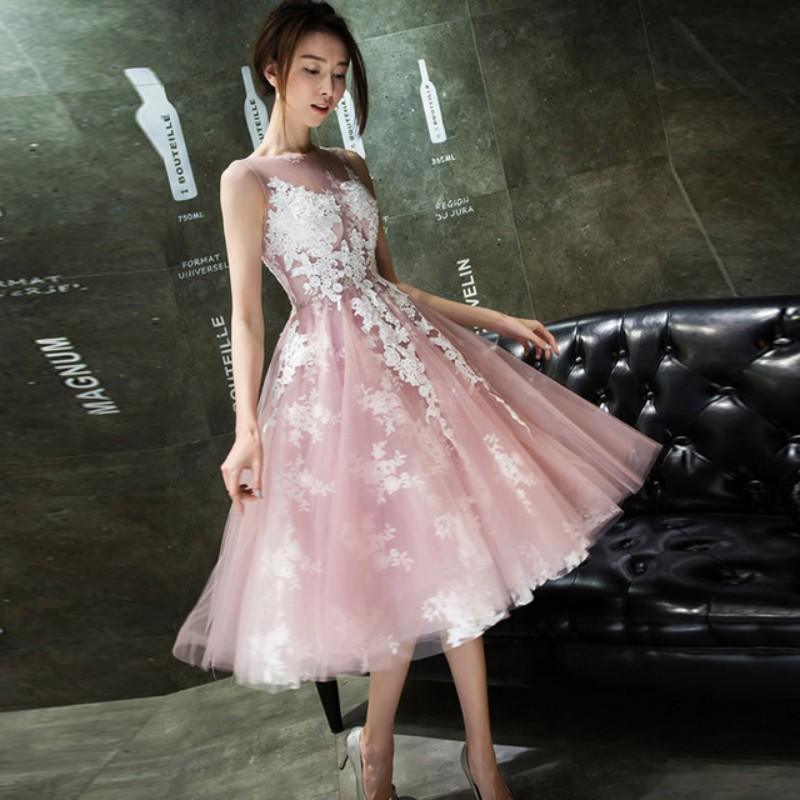 4fa34a9738 Aliexpress.com   Buy Scoop Knee Length Short Party Dress 2017 Pink Organza  Ivory Lace Appliques Cocktail Homecoming Dress Discount Cheap TB1626 from  ...