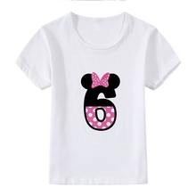 Interesting Number Mickey Bowknot Cute Cartoon Modal Kidswear, Boy/girl Summer T-shirt Short Sleeve White Kid Clothes
