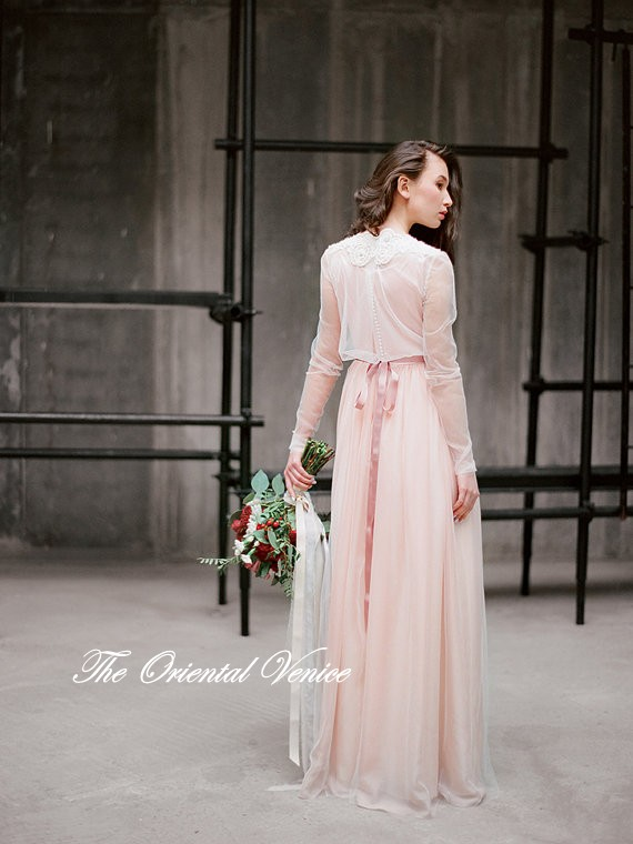 Popular blush pink wedding dresses buy cheap blush pink for Long sleeve blush wedding dress