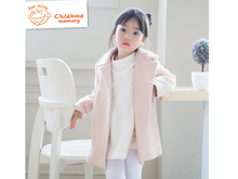 girls solid wool trench 2016 autunm winter new fashion turn-down collar sweet high quality children outwear coat windbreaker