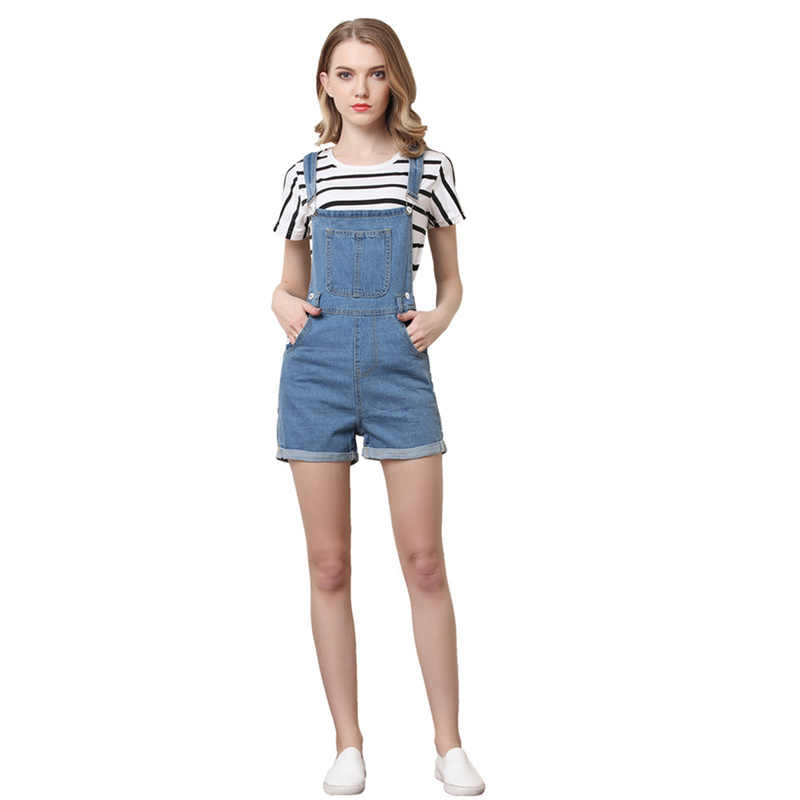 8906a29ab58 ... Helisopus Short Pants Denim Overalls Women Casual Jeans Romper Washed  Blue Dungarees 2018 Summer One Piece ...