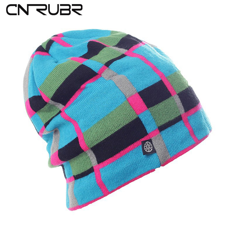 CN-RUBR High Quality Casual Hat Winter Snowboard Skating Unisex Caps Warm Plaid Knitting Beanies Christmas Gifts For Women cn rubr high quality casual hat winter skating unisex caps warm dot knitting beanies christmas gifts for women men