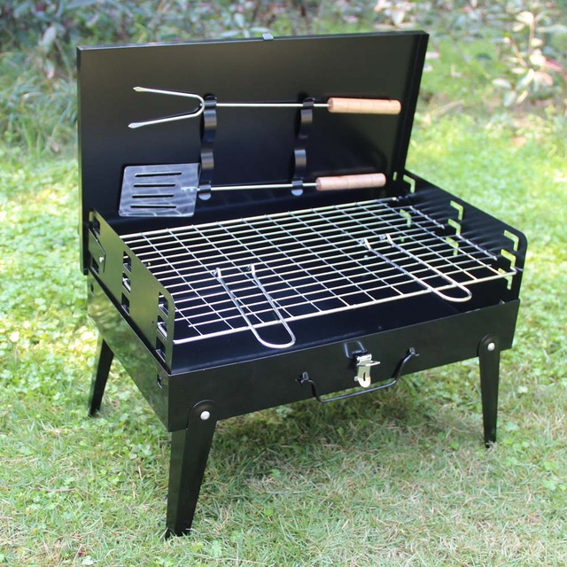 Folding Picnic Camping Charcoal BBQ Grill Adjustable Height Portable Garden Barbecue  Grill Broiler Outdoor Cooking Tool