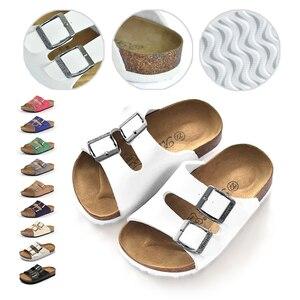 Летние сандалии для мальчиков и девочек, новая модная дышащая детская кожаная обувь, детская пляжная обувь для девочек, детские пробковые т...