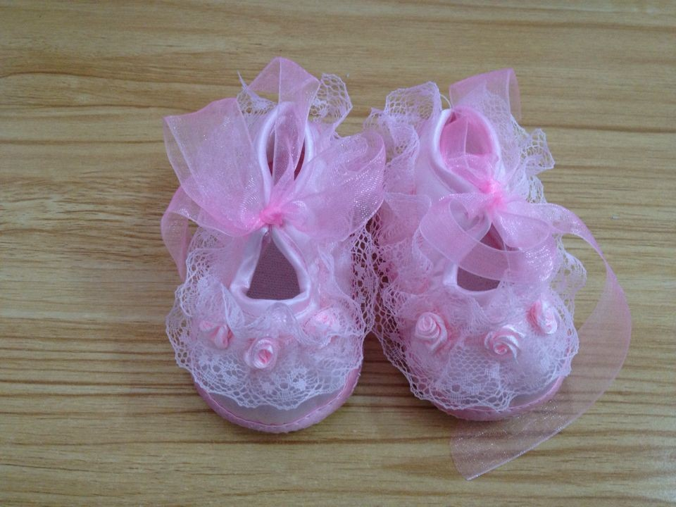 Todder pre-walker shoes For Girls Rose Flowers Ribbon bow Princess Newborn Baby Shoes soft sole