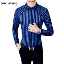 2d9d943e8c Sunwang korean striped shirt men Blue red stripe shirt men long sleeve  button down dress blouse