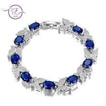 Corte de moda 7x9mm aquamarine elo de corrente pulseira para senhoras femininas brilhando gemstone jóias pulseiras presentes noivado casamento