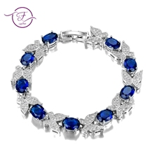 Cut Fashion 7x9MM Aquamarine Chain Link Bracelet For Women Ladies Shining Gemstone Jewelry Bracelets Wedding Engagement Gifts