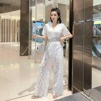 2019 Summer Women Jumpsuit Luxury Lace Patchwork White Playsuit Sexy V Neck Long Sleeve Wide Legs Elegant Jumpsuit