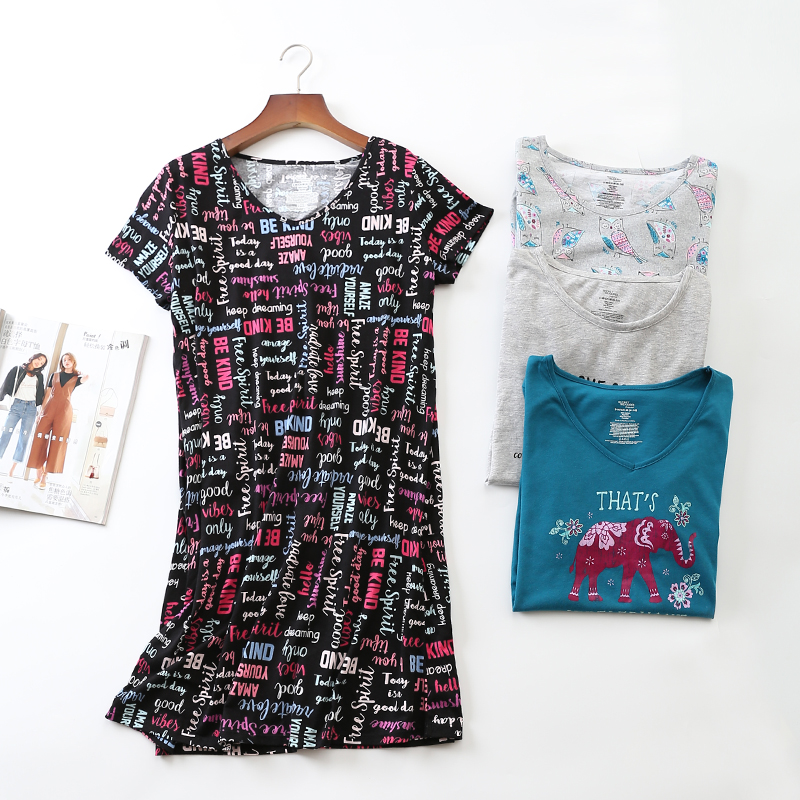 876e6ea7b4ed4 Black Loose Sleepwear Dress Women Sheer Chemise Nightdress 100 ...