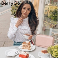 BerryGo Embroidery Hollow Out Sexy Blouse Shirt Women Elegant Ruffles White Blouse Tops 2018 Spring Summer