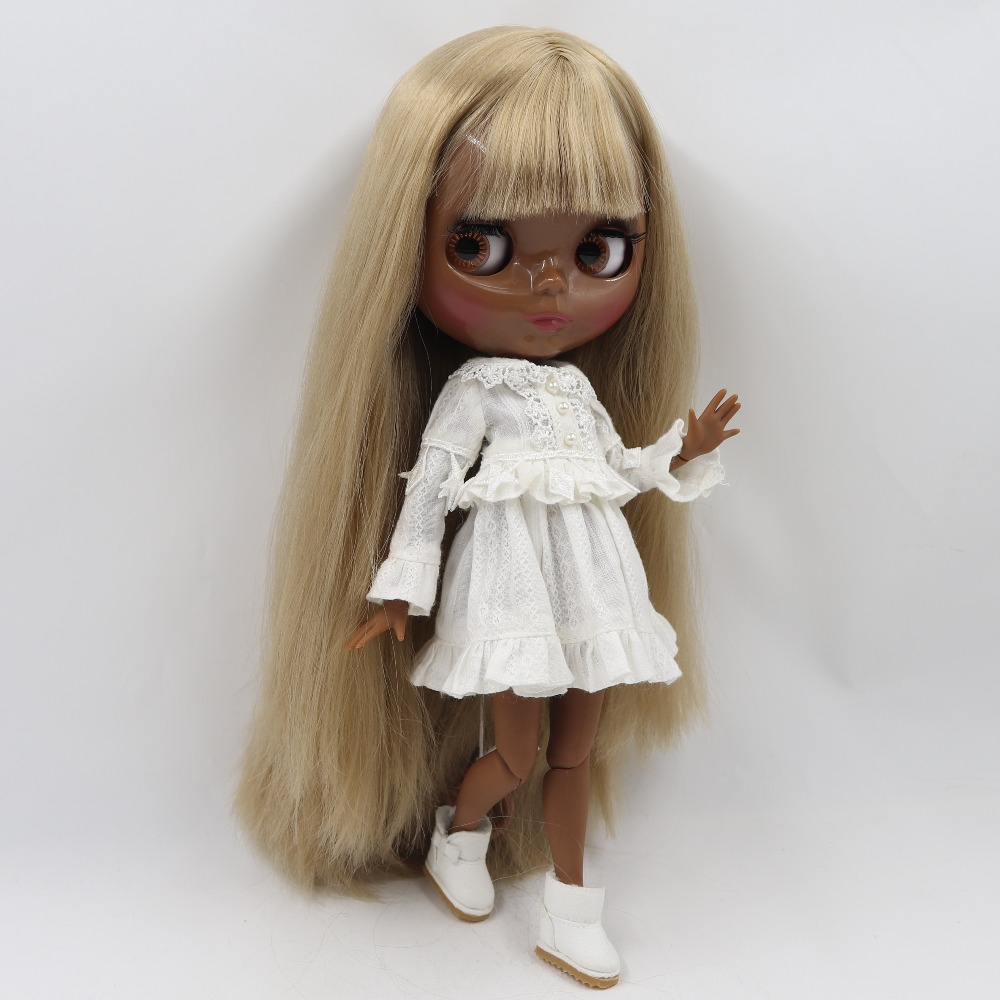 "12/"" Neo Blythe Doll From Factory Jointed Body Super Black Skin Gold Hair"
