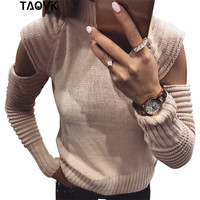 TAOVK Women Round Neck Sweater Pullovers Lady Long Ruffle Sleeves Female Slim Sexy Solid Color Hollow