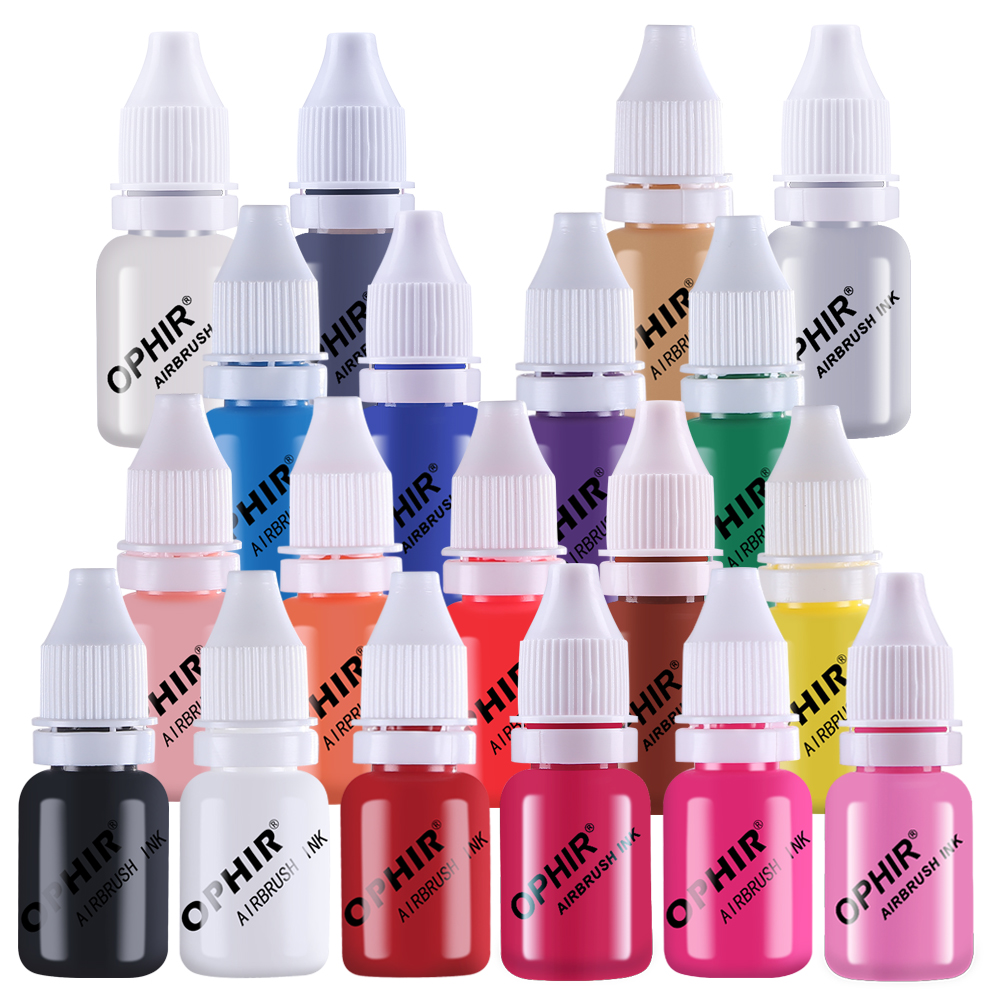 OPHIR 19 Colors Airbrush Ink for Nail Art Painting Design Water Based TA098(1-19)