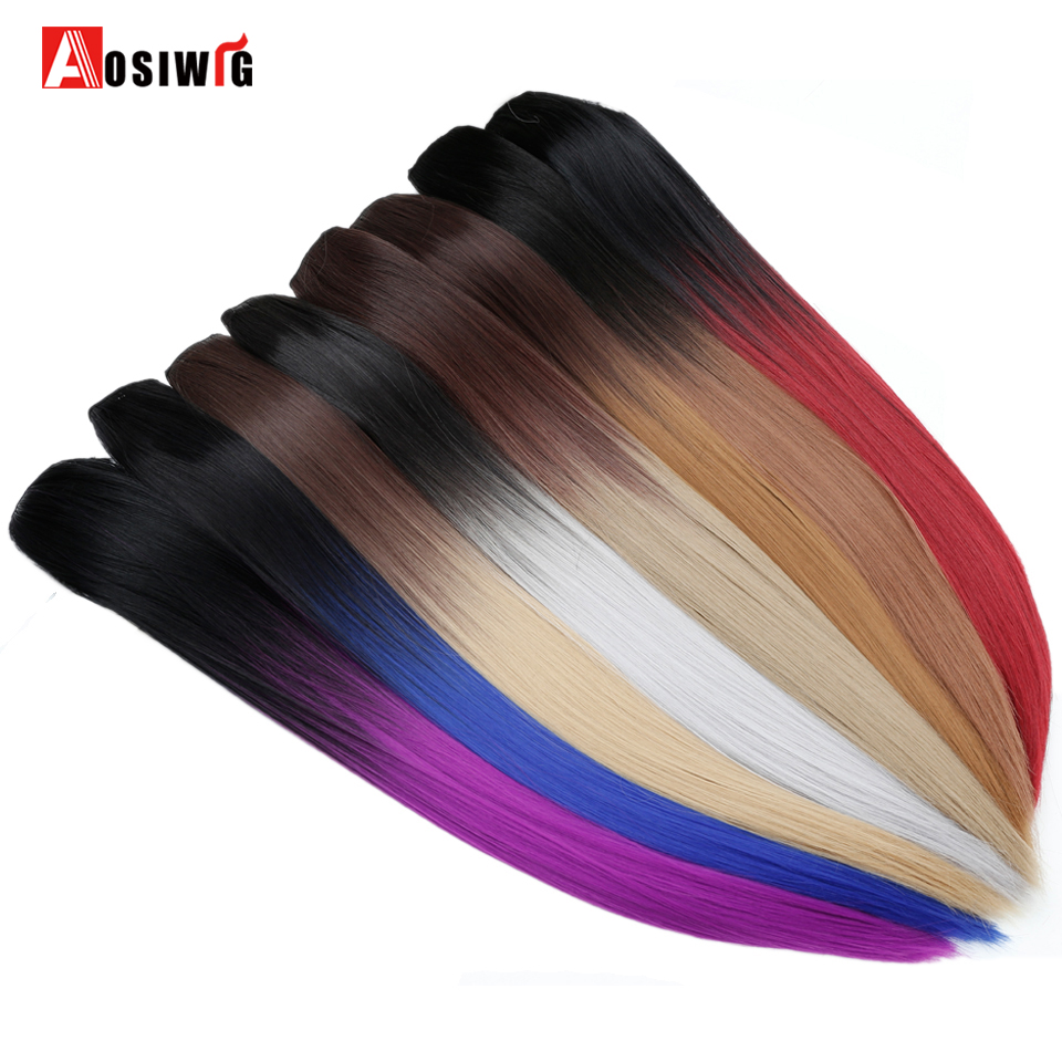 Aosiwig Straight Heat Resistant Synthetic Fiber Black To Black To Gray Ombre Color Long Weave Clip In Hair Extension Synthetic Clip-in One Piece