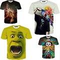 Nueva llegada del tamaño S-XXL europa y américa del payaso de impresión tops tee caliente hombres de la camiseta 3d camiseta ocasional