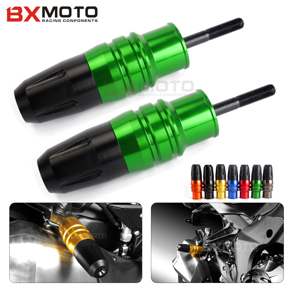 New Motorcycle Accessories Cnc Aluminum Green Crash Pads Exhaust Sliders Crash Protector For Kawasaki Z1000 Z1000sx 2013-2017 motorcycle cnc aluminum frame sliders crash pads protector suitable for kawasaki z800 2012 2013 2014 2015 2016 green