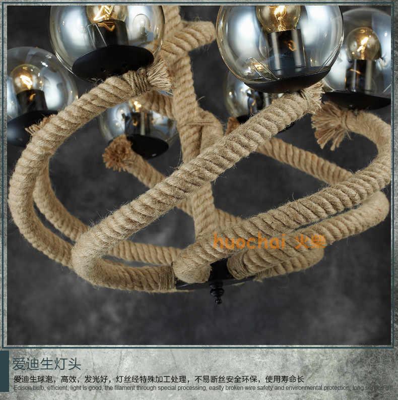 Винтаж промышленных веревки подвесные светильники бобовый стебель креативного лидерства США стали стеклянный шар Ресторан подвесные светильники ZH GY224