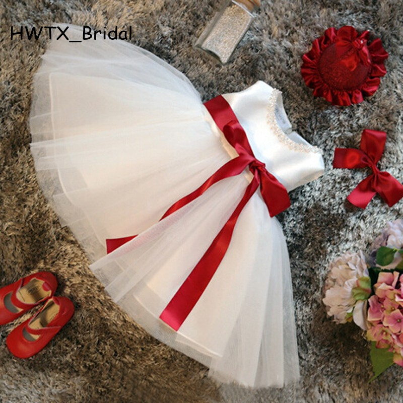 White flower girl dresses for weddings 2018 a line red sash pearls white flower girl dresses for weddings 2018 a line red sash pearls tulle first communion dress for girls kids birthday gowns mightylinksfo