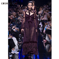 Luxury Lace With Sleeves Maxi Party Mesh Slim Women Vintage Long Bodycon Sexy Dress Runway Dresses