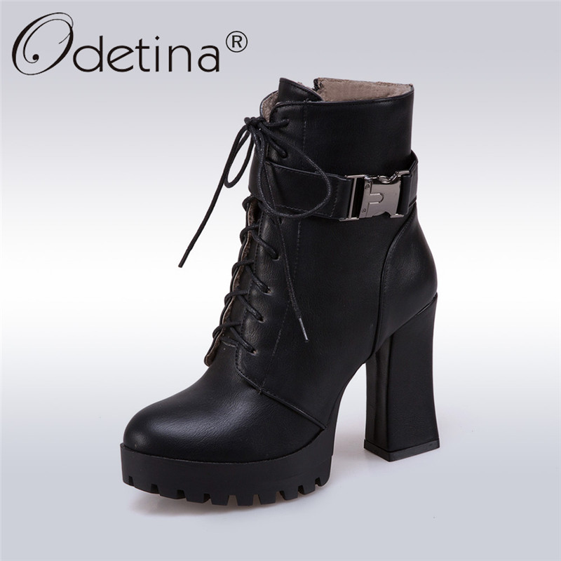 Odetina 2017 Fashion Women Platform High Thick Heel Lace Up Ankle Boots Buckle Round Toe Autumn Winter Warm Shoes Big Size 32-43 front lace up casual ankle boots autumn vintage brown new booties flat genuine leather suede shoes round toe fall female fashion