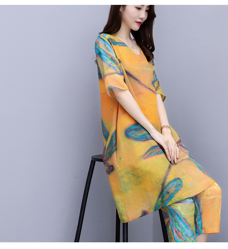 2019 Summer Chiffon Printed Two Piece Sets Outfits Women Plus Size Short Sleeve Long Tops And Cropped Pants Vintage Elgant Suits 29