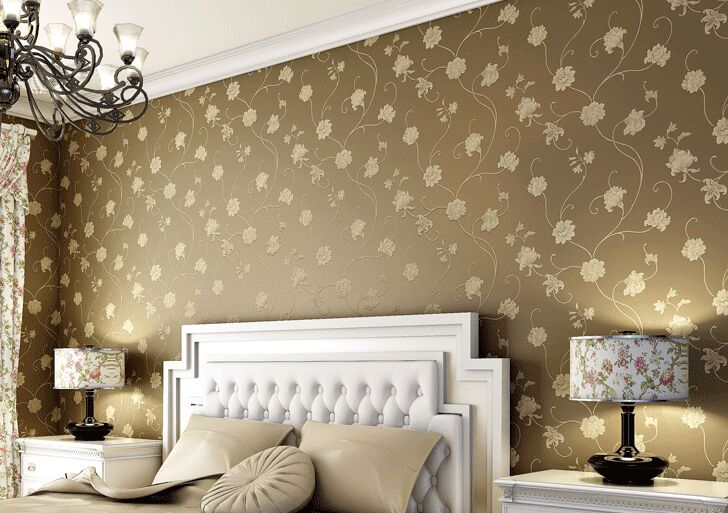 2016 new hot selling rural non-woven wall paper bedroom warmth Magnolia flower embroidery wallpaper sitting room TV setting wall flocking elegant european rural non woven wallpaper the bedroom the head of a bed spread the sitting room tv setting wall paper