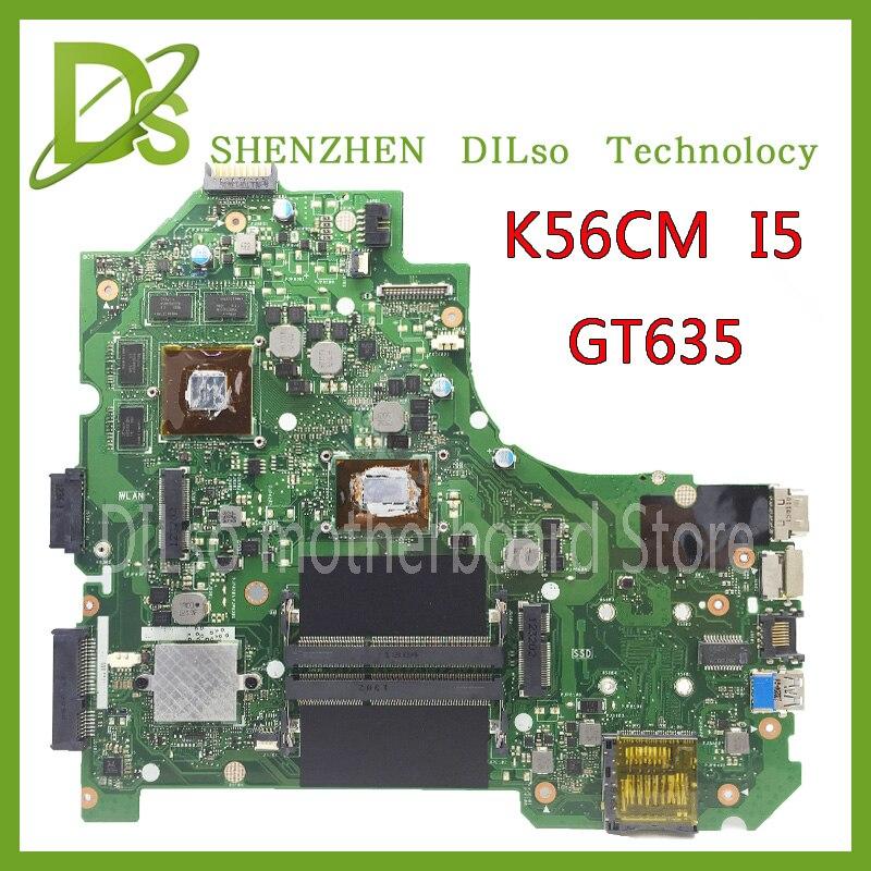 KEFU K56CM Pour ASUS K56CB K56CM A56C S550CM Mère D'ordinateur Portable i5 GT635 Carte Mère Test K56CM carte mère Non-Intégré