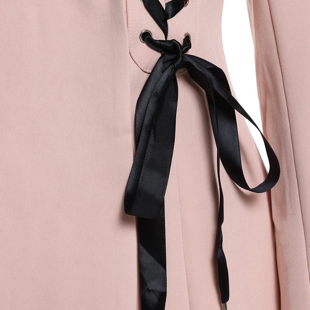 Manicotto A Blazer Kenancy Donne Pink Pizzo Pieno Up Rosa Equipaggiata Nastro Due Pulsanti Delle Di wqpnfpZUW