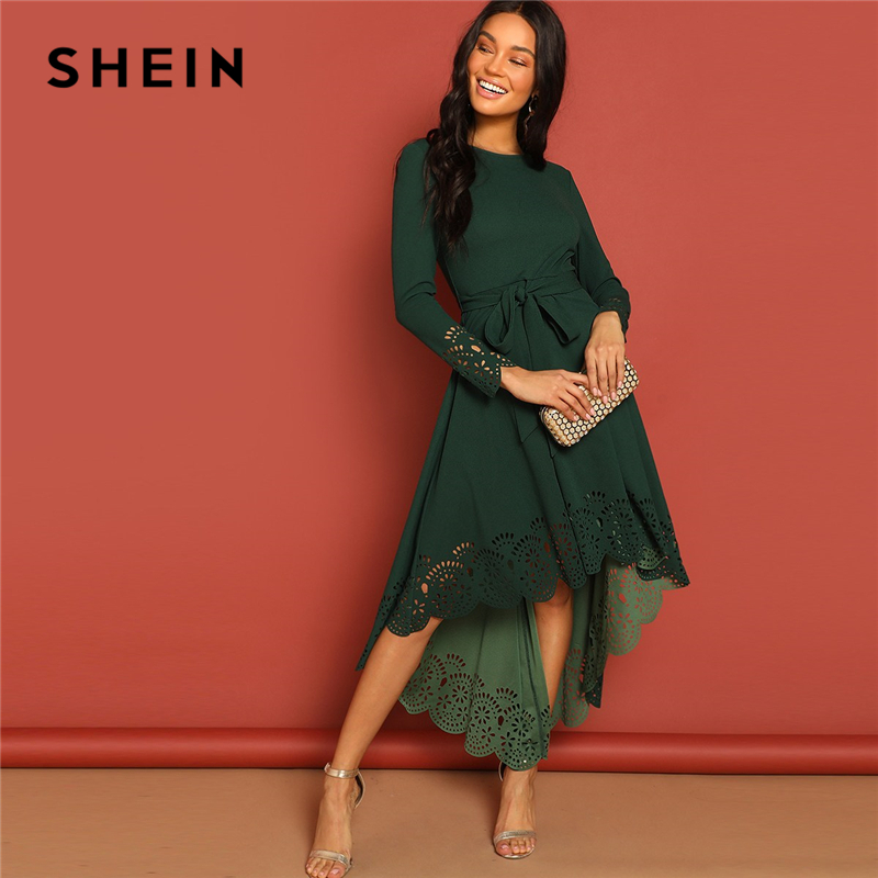 SHEIN Green Laser Cut Fit And Flare Belted Scallop Hem Mid Waist Zipper Back Long Sleeve Solid Dress Autumn Women Party Dresses