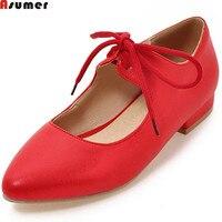 Asumerプラスサイズ32-48ファッション新しいarrivalwomenパンプスラウンドつま先女性の靴レースアップカジュアル低いかかとの靴シンプルな赤ピンク