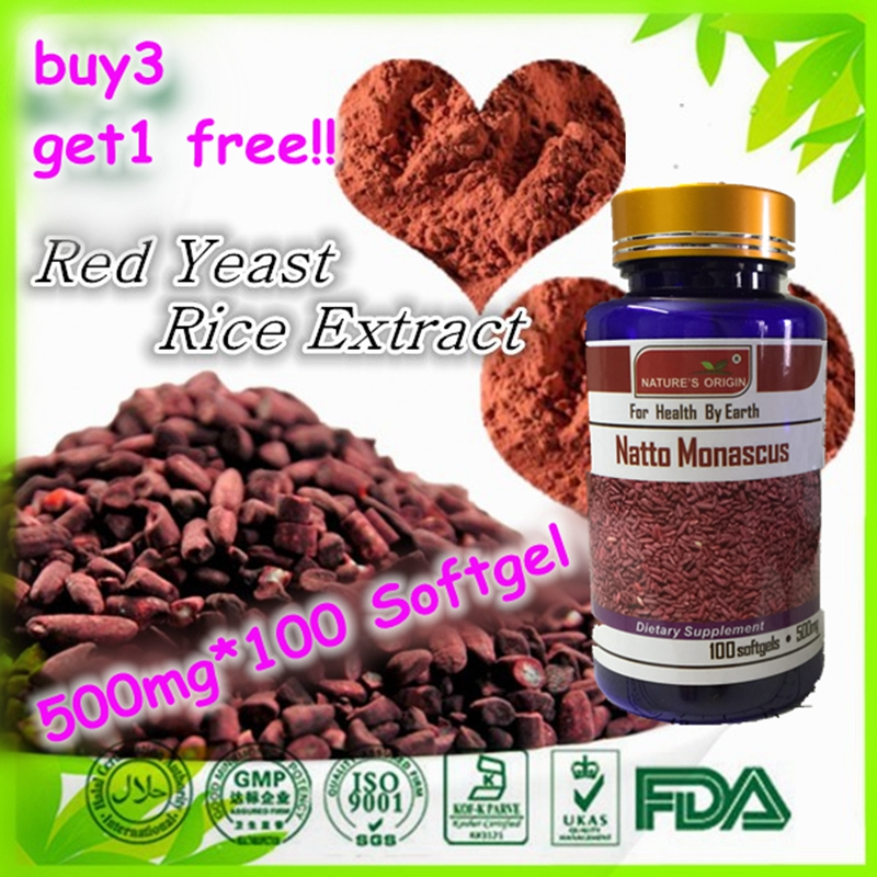 Red Yeast Rice 500 mg 100 capsules Free shipping (Buy 3 get 1 free) dong quai 530 mg traditional herb for women 100 capsules free shipping