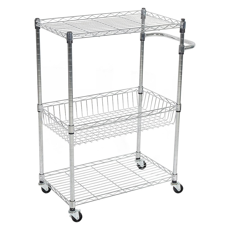US $55.19 |3 Layers Kitchen Trolleys Cart 4 Wheels Multifunction Cart Wagon  Kitchen Cart With Basket Shelves Handle-in Kitchen Islands & Trolleys from  ...