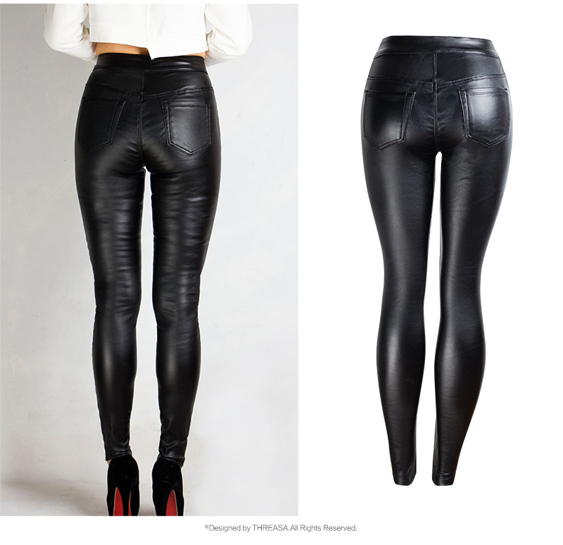 19 Winter Plus Size Stretch PU Leather Pants For Women High Waist Joggers Womens Trousers Pencil Skinny Waisted Female Pants 38