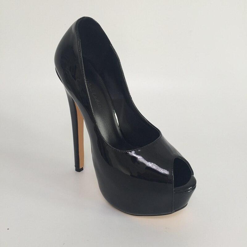 superbes sur brillantes pompe sexy toe de peep chaussures glissent talons noires Femmes qfBwUU