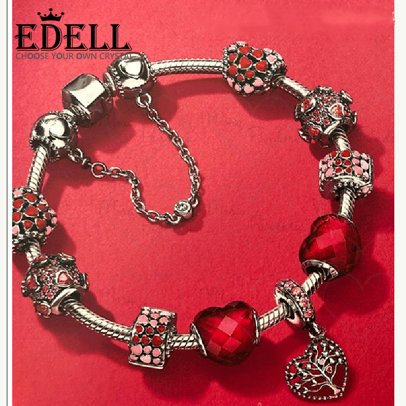 EDELL 2018 New Valentines Day Theme 100% 925 Sterling Silver Bracelet For Women With Safety Chain Fashion Jewelry Origina GiftEDELL 2018 New Valentines Day Theme 100% 925 Sterling Silver Bracelet For Women With Safety Chain Fashion Jewelry Origina Gift