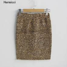 Hermicci 2018 Womens Skirts Gold Sequined Mini Bodycon Pencil Skirt Wrap Sexy Short Party Skirt(China)
