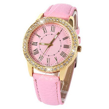 Fashion Women's Casual Relojes Vintage Luxury Gold Pleated Relogio Leather Strap Bling Crystal Wrist Watches Best Gift