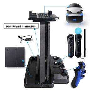 Image 1 - Многофункциональная Вертикальная охлаждающая подставка для консоли PS4 Pro/PS4 Slim/PS4 PS Move, контроллер PS4, зарядная станция, VR Держатель Витрины