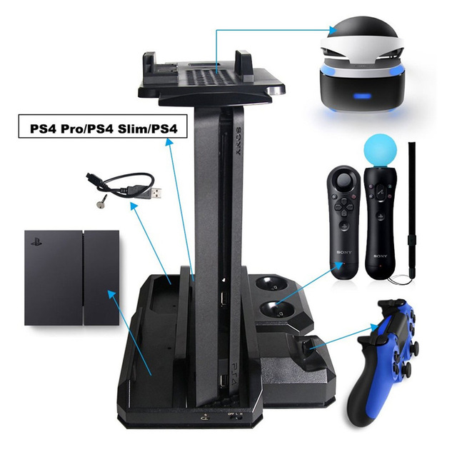 Multifunctional Vertical Console Cooling Stand PS4 Pro/PS4 Slim/PS4 PS Move PS4 Controller Charger Station VR Showcase Holder