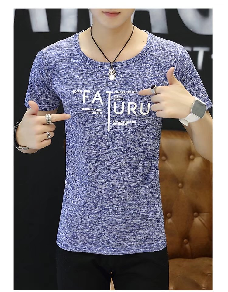 Spring 100% Cotton Casual Short Sleeve Rose Printing Men T Shirt O-neck Knitted Comfortable Fabric Street Style Men T-shirt 58