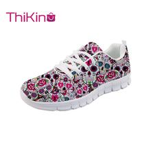 Thikin Women Candy Skull Cartoon Sneakers Shoes Casual Flat Ladies Breathable Mesh Woman Walking Zapatos Mujer