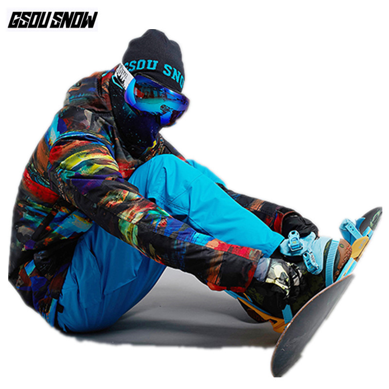 GSOU SNOW Brand Ski Suit Men Ski Jackets Pants Snowboard Sets Winter Waterproof Mountain Skiing Suits Male Snowboarding Clothes стоимость