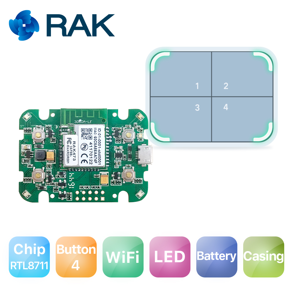 RAK611 WiFi Module IoT Internet Smart Button Dash Button Development Hardware with Casing Battery Q168 cc2530 development kit zigbee development board wireless module wifi android internet of things smart home