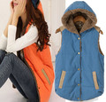 2017 autumn and winter women vest coat plus size coral fleece warm hooded cotton waistcoat female thick down vest outerwear