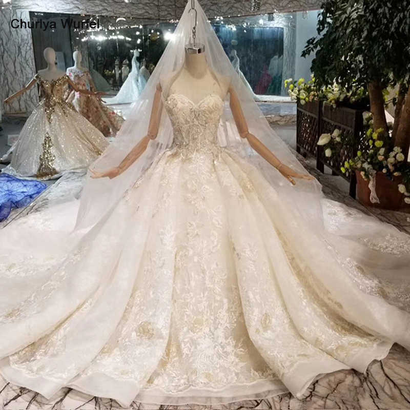 HTL088 sexy strapless wedding dress with wedding veil sleeveless lace appliques luxury wedding gown with long train new arrival
