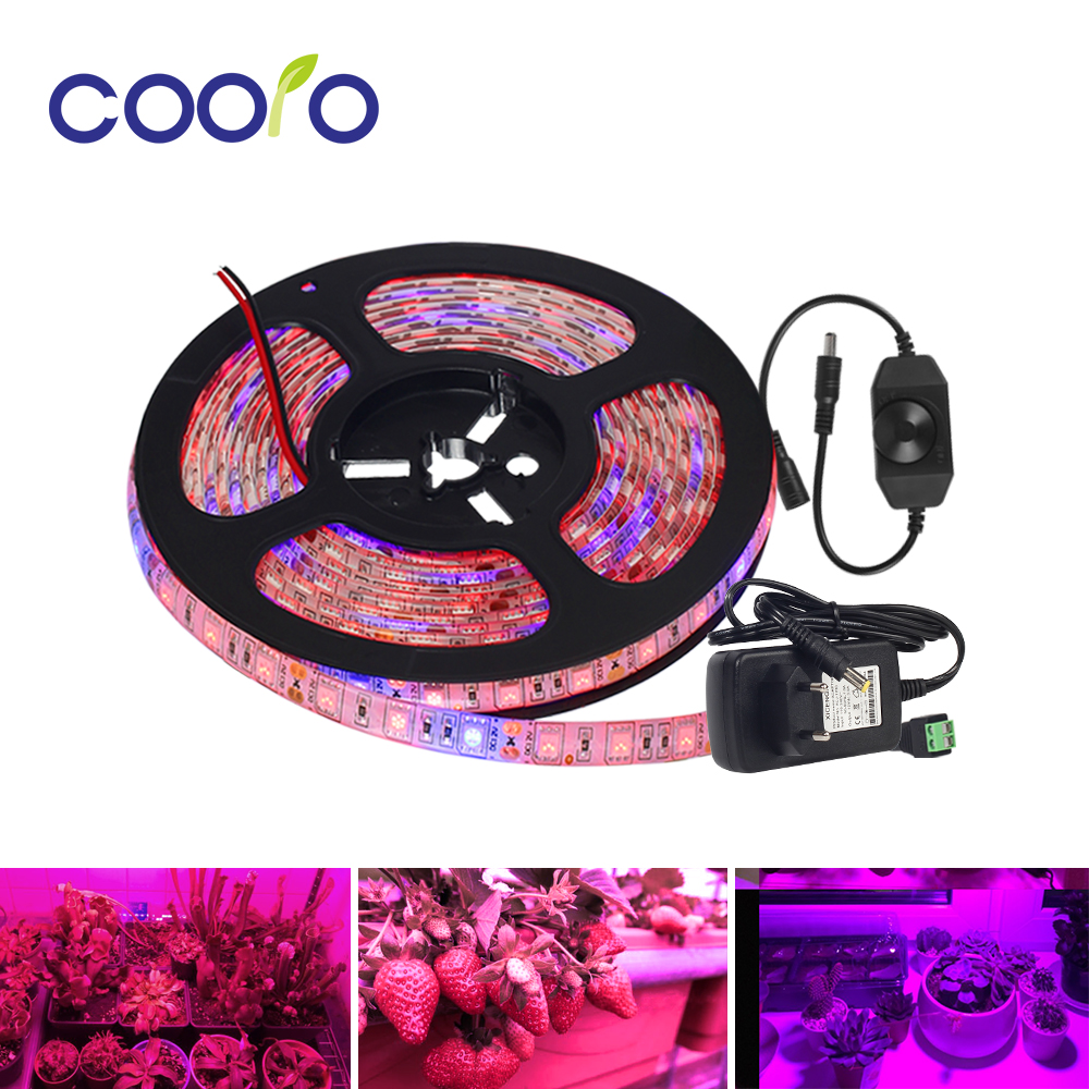 LED Grow Lights Full Spectrum DC12V Growing LED Strip Plant Growth Light Set with Adapter and