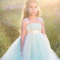 Unieke Mintgroen Meisje Jurk met Bloemen Sash Tulle Bandjes Meisje Tutu Jurken Bruiloft Meisje Jurk Prom Avond Kleding