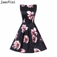 JaneVini 2019 Floral Evening Gowns for Women Satin Cocktail Dress Short Knee Length Printed A Line Party Dresses Robe Coktail