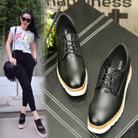 British style black/white leather flats women mixed color platform shoes ladies lace up brogue shoes woman creepers muffins y765